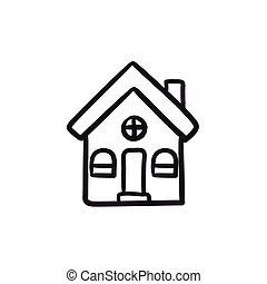 房子, 派遣, 勾画, icon.