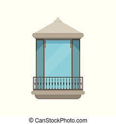 房子, 现代, 描述, 矢量, 背景, 白色, 阳台