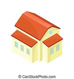 房子, 现代, 描述, 背景。, 矢量, 原色哔叽, 模型, 白色, extensions.