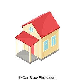 房子, 现代, 描述, canopy., 背景。, 矢量, 原色哔叽, 白色, 模型