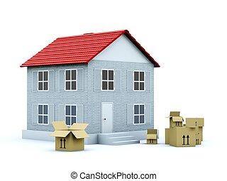 房子, 由于, 空, 箱子, 被隔离, 在懷特上