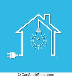 房子, 由于, 電線, 塞子, 以及, 燈泡, -, 矢量, 插圖