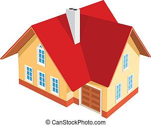 房子, 白的背景, 描述