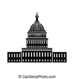 房子, 白色, 华盛顿特区, 图标