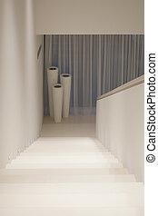 房子, 白色, 現代, 樓梯