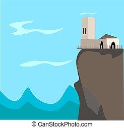 房子, 白色, 背景。, 矢量, 描述, mountain., 顶端