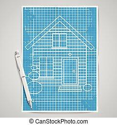 房子, 矢量, 蓝图, 现实