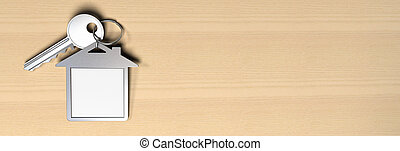 房子, 符號, 鑰匙圈, 以及, a, 鑰匙, 在上方, a, 木制, 背景, 在那裡, 是, 模仿空間, fot,...