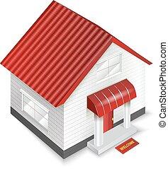 房子, 被隔离, 插圖, 背景。, 矢量, 白色, 圖象