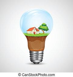 房子, 裡面, 燈泡