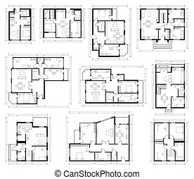 房子, 计划, 隔离, 放置, plan., 地板, 黑色, 蓝图, 不同, 白色, 设计, 建筑学