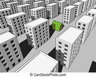 房子, 许多, 块, 公寓