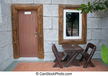 房子, 院子, 由于, 木製的桌子, 以及, 椅子