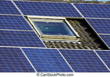 房子, 面板, 老, 太陽