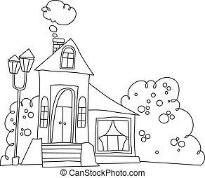房子, 风格, 黑色, 白色, 卡通漫画