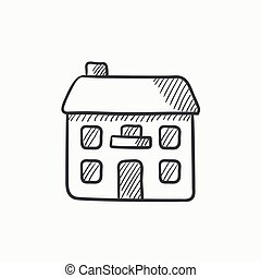 房子, icon., 二, 派遣, 层, 勾画