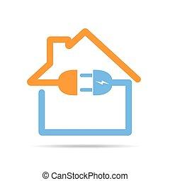 房子, icon., 矢量, 插圖