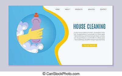 房子, illustration., 矢量, 样板, 打扫, 服务, 卡通漫画, 网