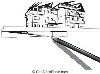 房子, rapidograph, 图