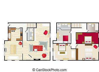 房子, s, floorplan, 典型