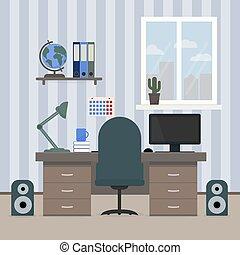 房間, 書, teenager., 概念, 辦公室。, illustration., 教育, 架子, 套間, 矢量, 工作場所, 家, student., 內部, globe., 台式計算机