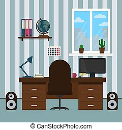 房間, 書, teenager., 概念, illustration., 教育, 架子, 套間, 矢量, 工作場所, 辦公室, student., 回家內部, globe., 台式計算机