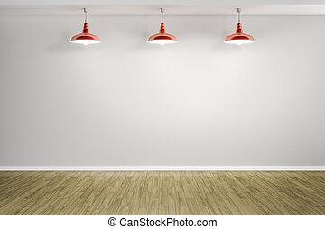 房間, 由于, 三, 紅色, 燈