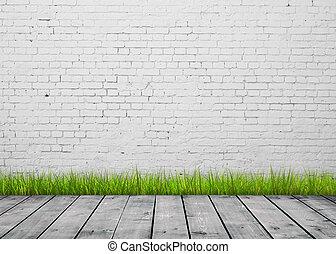 房間, 由于, 綠色的草