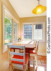 房间, 区域, kitchen., 进餐, 小, 早餐