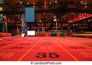 房间, 在中, 娱乐场, 带, 红的桌子, 为, 轮盘赌, 游戏, 察看, 从, 桌子