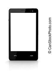 所有するため, スクリーン, -, 隔離された, 携帯電話, デザイン, 白
