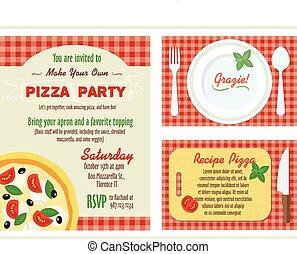所有するため, 感謝しなさい, set., レシピ, あなたの, grazie, ベクトル, 招待, パーティー, あなた, ピザ, 作りなさい, card.