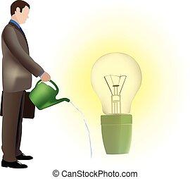所有するため, 水, 電球, 人, ライト, ∥(彼・それ)ら∥, 考え
