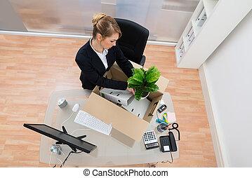 所有物, 女性実業家, パッキング, オフィス