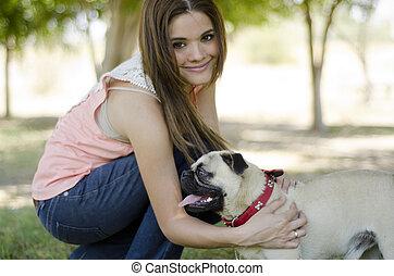 所有者, かわいい, 犬, 彼女