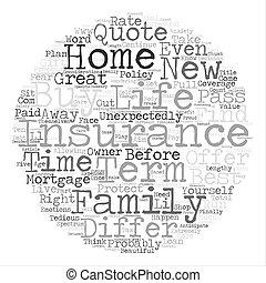 所有者, 知りなさい, 何か, 新しい 家, 必要性, 用語, 保険, テキスト, について, 背景, 単語, 生活, 概念, 雲
