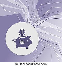 所有, 房间, 紫色, 美元, 摘要, 现代, 线, 背景。, directions., 小猪, advertising., 硬币, 你, 银行, 图标
