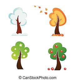 所有, 放置, 图标, 季节, 树, 矢量