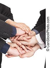 所有, 概念, 商务人士, 一起, 手, 配合
