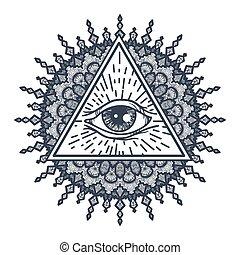 所有, 看见, 眼睛, 在中, 三角形, 同时,, mandal