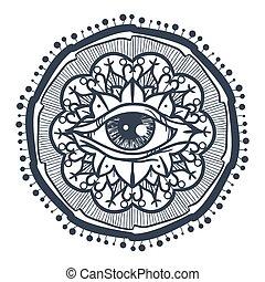 所有, 看见, 眼睛, 在中, 坛场