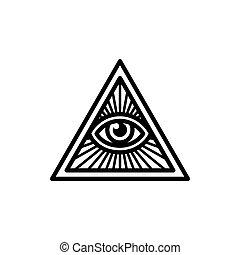 所有, 看见, 眼睛, 符号