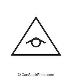 所有, 看见, 眼睛, 金字塔, 矢量, 线, 描述, 图标, 符号, 海报, logo., freemason,...