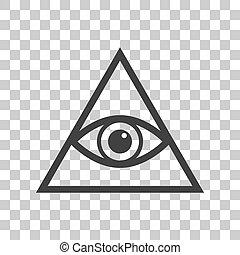 所有, 看见, 眼睛, 金字塔, 符号。, freemason, 同时,, spiritual., 灰色的黑暗, 图标,...