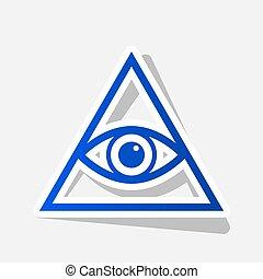 所有, 看见, 眼睛, 金字塔, 符号。, freemason, 同时,, spiritual., vector.,...