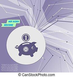 所有, 矢量, 房间, 紫色的线, 摘要, 现代, 美元, 背景。, directions., 小猪, advertising., 硬币, 你, 银行, 图标