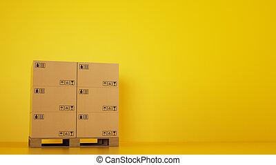 扁平工具, 木制, 堆, 黃色的背景, 厚紙箱