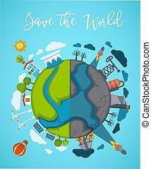 扇動, ポスター, 地球, 半分, 世界, を除けば, 分けられる