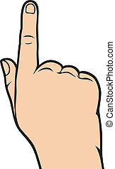 手が指さす