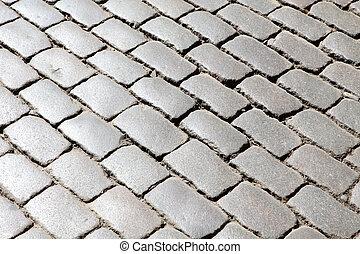 手ざわり, の, ∥, 古い, ブロック, 舗装, 背景